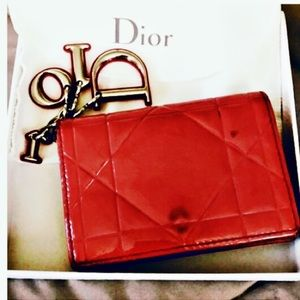 Authentic Dior Lady Patent Red Tutti Card Case